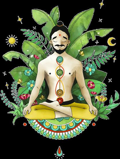 Yogi en demi-lotus illustrant l'accueil de la plateforme de cours de yoga en ligne yoga-en-ligne.com