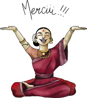 Yogini de la plateforme de cours de yoga en ligne yoga-en-ligne.com qui sourit avec les bras vers le haut
